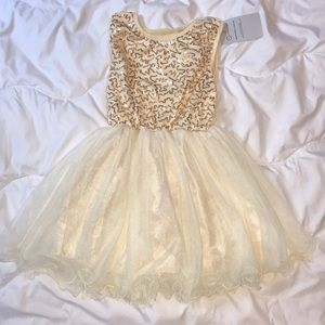 Girls Ivory Dress with Gold Sequin
